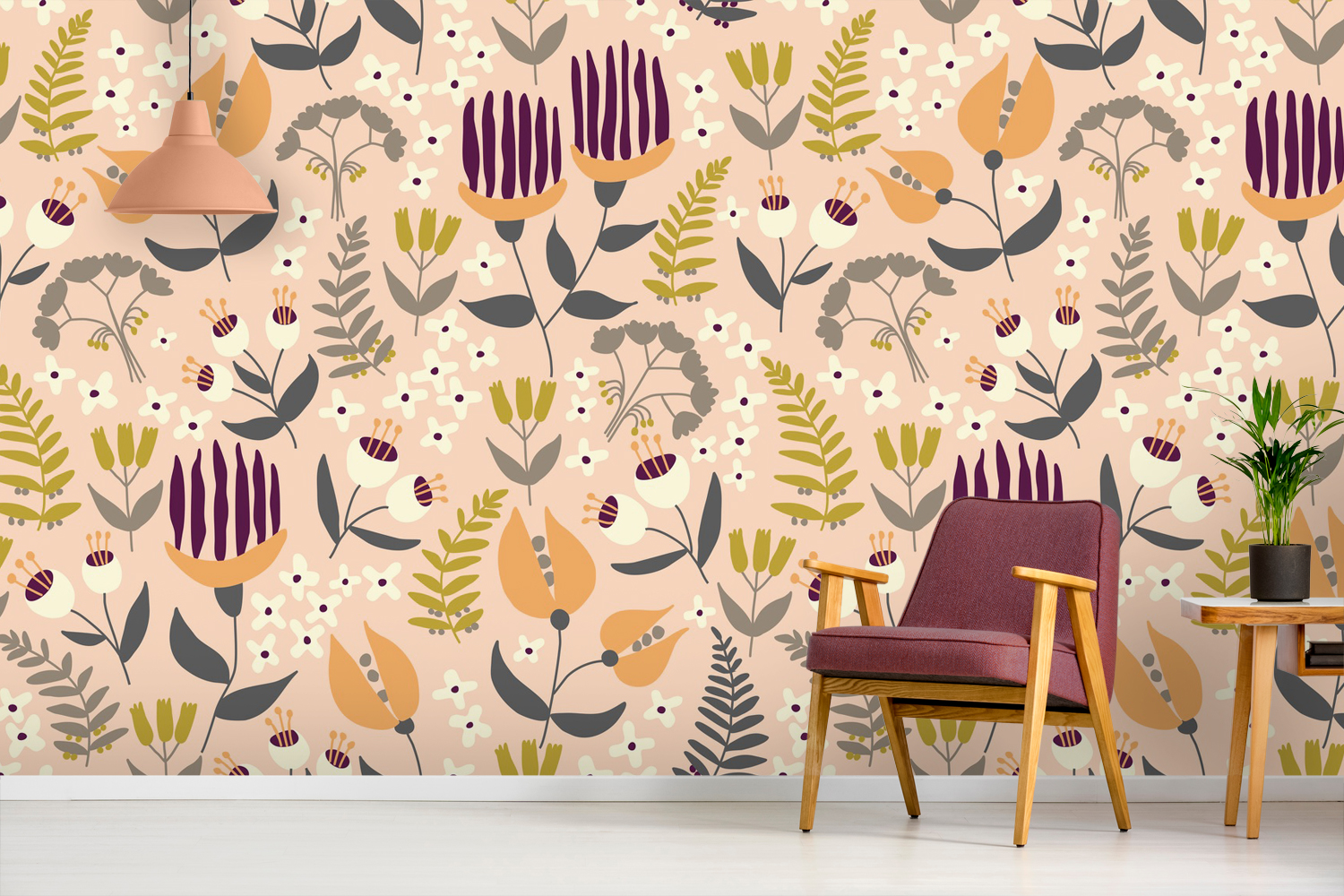 'Organic Interweaving' Wallpaper Mural by The Tiny Garden at Wallsauce.com